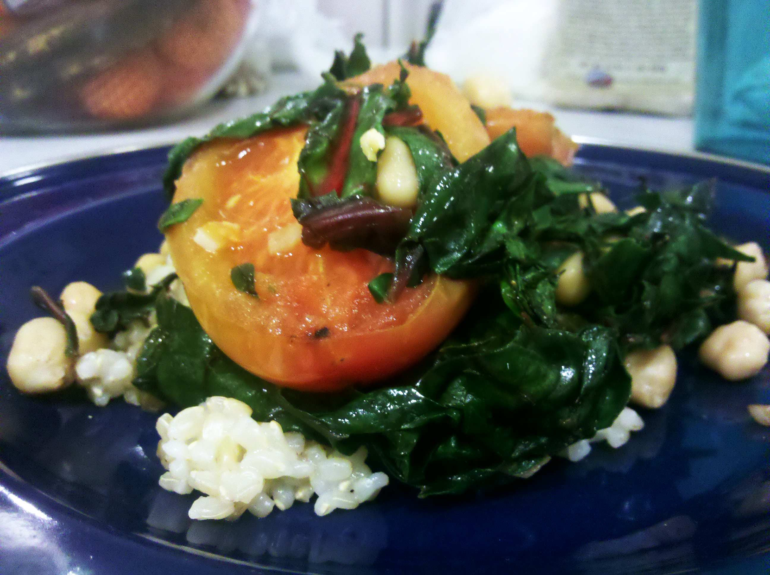 lemony swiss chard, tomatoes, and chick peas over rice | Baking for ...